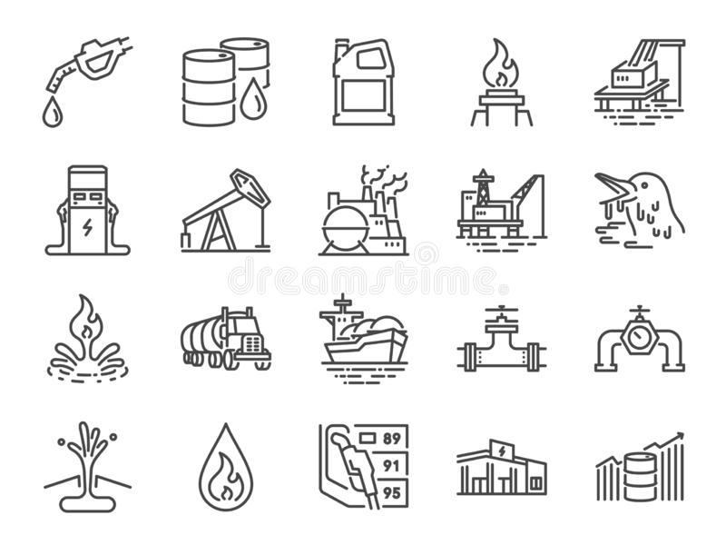 Oil and Petroleum line icon set. Included icons as power, fuel, energy, gas station, crude oil and more. royalty free illustration