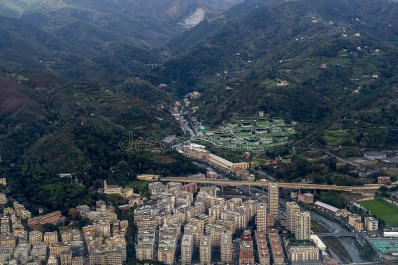 Oil petroleum refinery aerial view in genoa italy stock photography