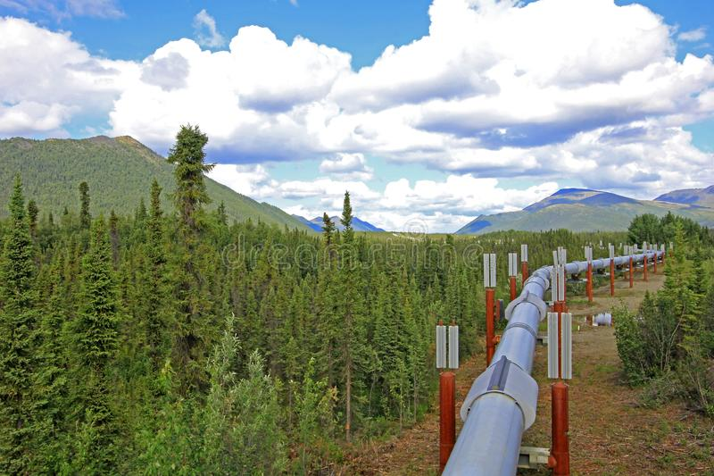 Oil pipeline along Dalton Highway, leading from Valdez, Fairbanks to Prudhoe Bay, Alaska, USA. Oil pipeline along Dalton Highway, leading from Valdez, Fairbanks royalty free stock photography