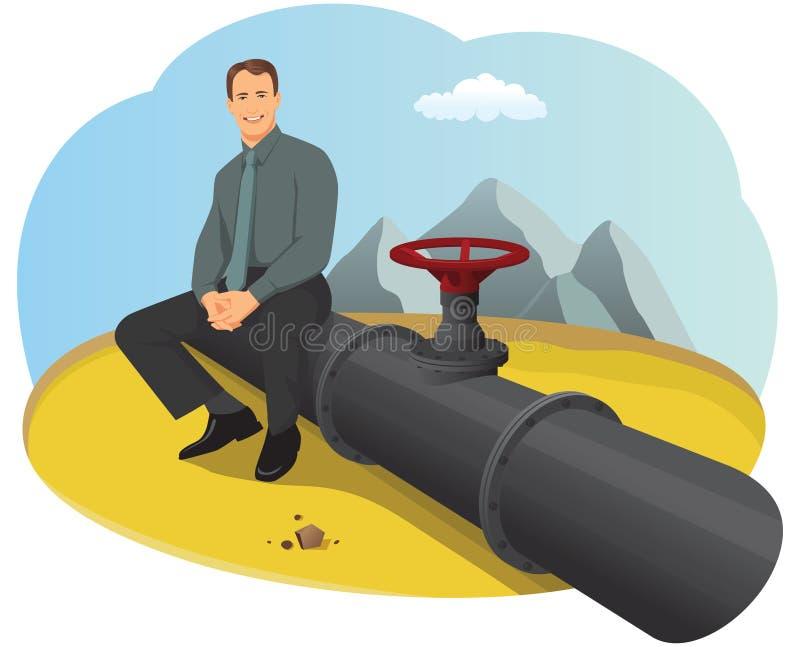 Oil pipeline. Happy businessman sitting on the oil pipeline in the desert stock illustration