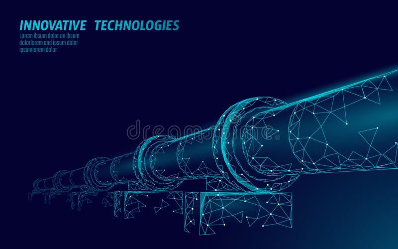 Oil pipeline low poly business concept. Finance economy polygonal petrol production. Petroleum fuel industry. Transportation line connection dots blue vector vector illustration