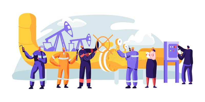 Oil Pipeline Service. Character Control and Checking Cathodic Protection Level. Surveillance Construction, Erosion or Leaks. Transportation Liquid or Gas. Flat vector illustration