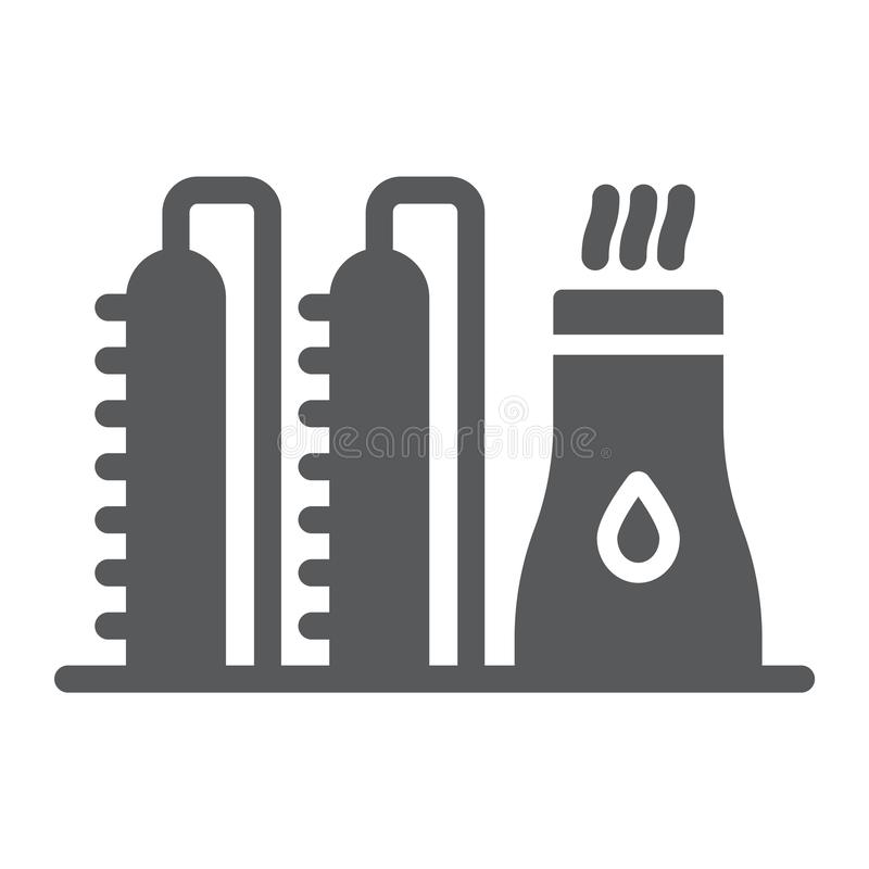 Oil plant glyph icon, industy and refinery, power factory sign, vector graphics, a solid pattern on a white background. royalty free illustration