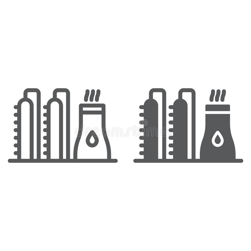 Oil plant line and glyph icon, industy and refinery, power factory sign, vector graphics, a linear pattern on a white vector illustration