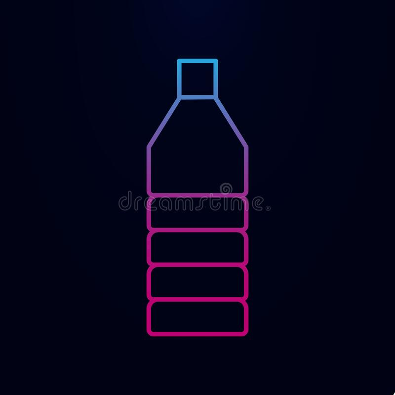 Oil plastic bottle line nolan icon. Simple thin line, outline  of web icons for ui and ux, website or mobile application. On dark gradient background stock photography