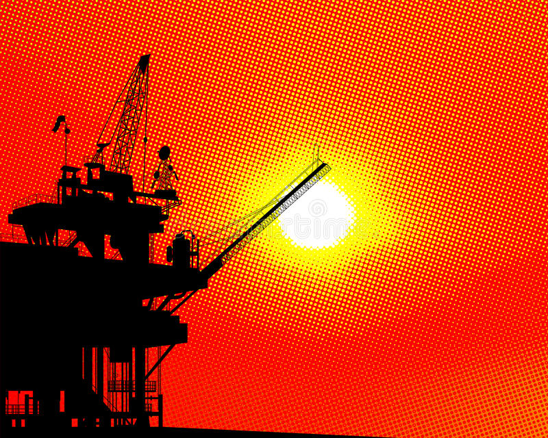 Oil platform halftone. Abstract background with oil platform silhouette over a halftone sunset stock illustration