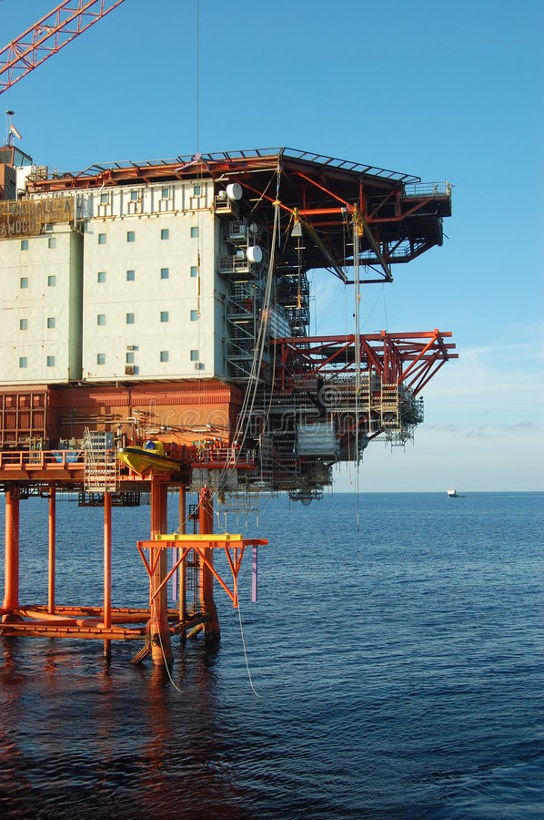Oil platform in North Sea royalty free stock image