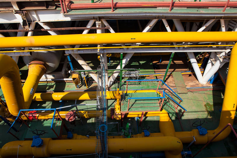 Oil Platform pipeline and pressure transfer system royalty free stock photos