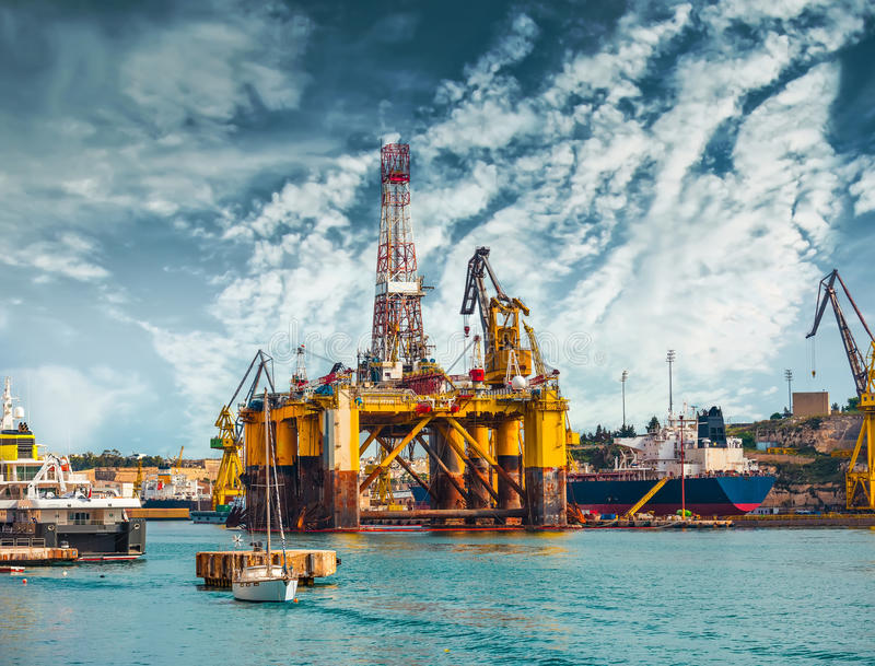 Oil platform in repair royalty free stock photography