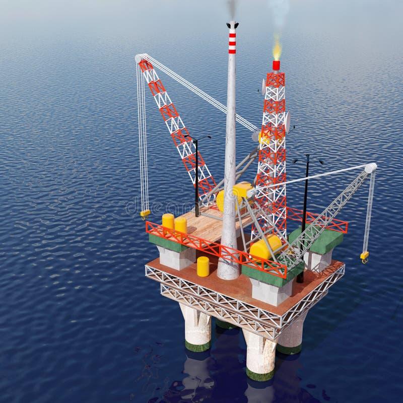 Oil platform in the sea stock illustration