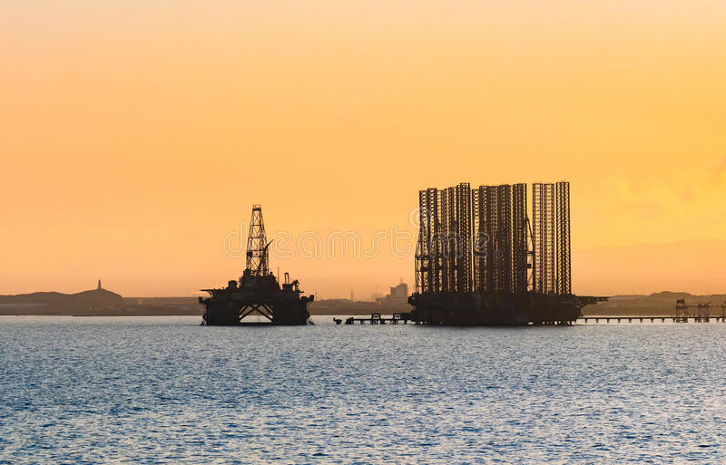 Oil platform in sea. Oil production stock photography