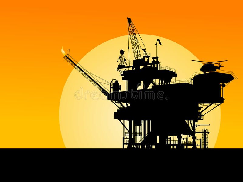 Download Oil platform silhouette stock vector. Illustration of commercial - 19590061