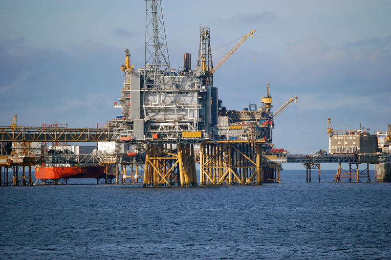 Oil platforms in North Sea stock photo
