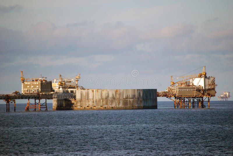Oil platforms in North Sea stock images