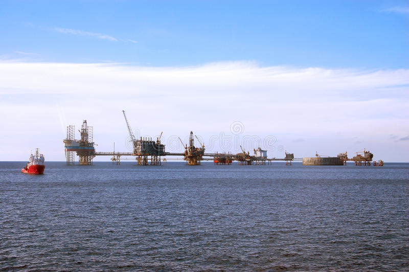 Oil platforms in North Sea royalty free stock photography
