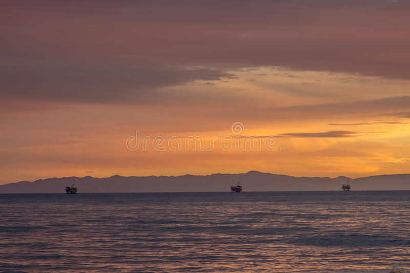 Oil Platforms At Sea stock images