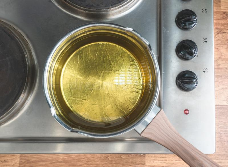 Oil in a pot. Situated over the stove. View from above royalty free stock image