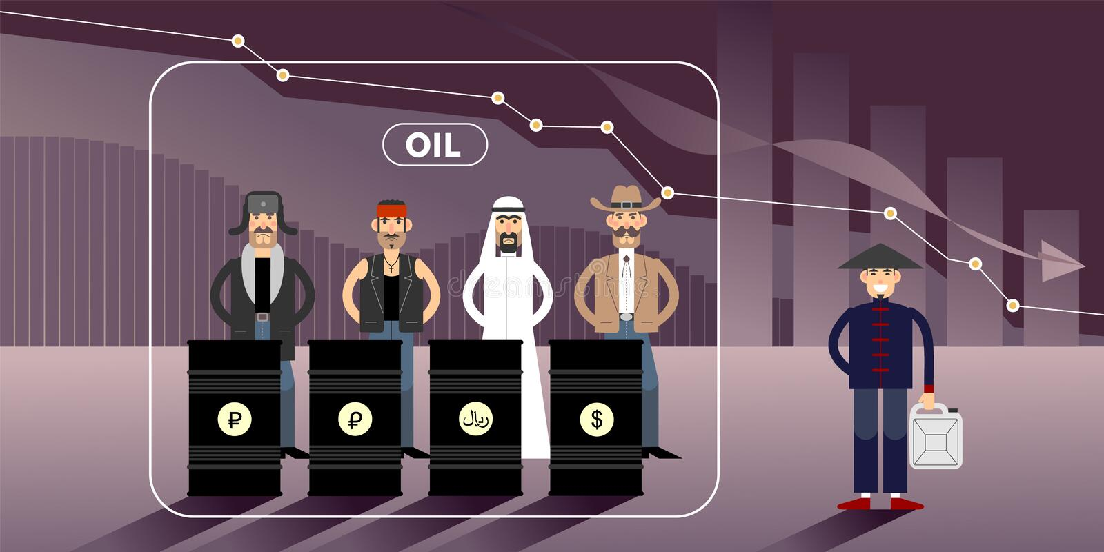 Oil price chart illustration with personages. Chart of falling oil prices with different national character personages royalty free illustration