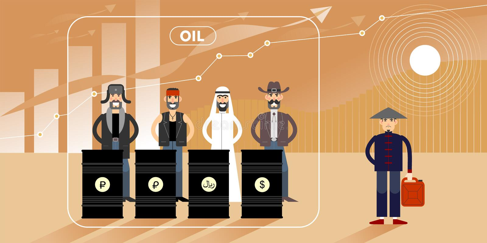Oil price chart illustration with personages. Oil price growth chart illustration with different national character personages stock illustration