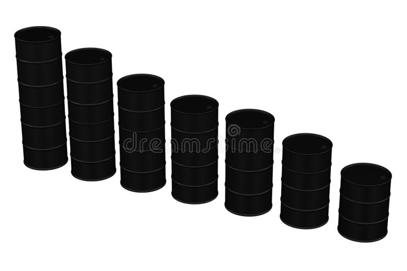 Oil price chart reduction. 3D rendering royalty free illustration