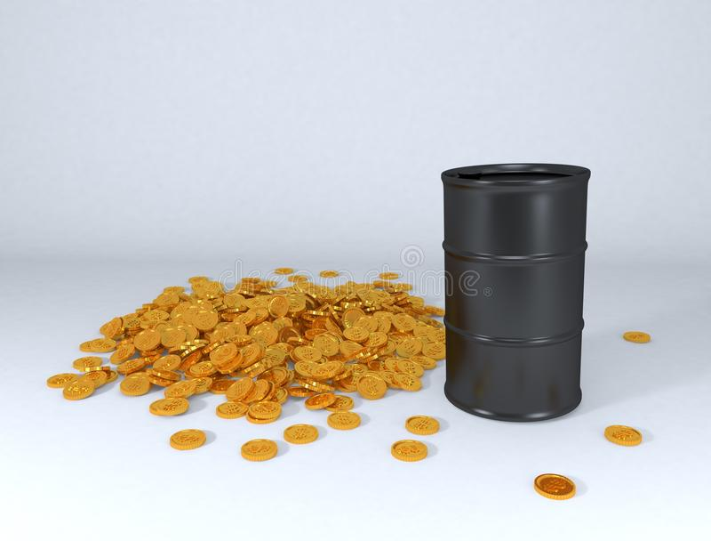 Oil price in gold. Oil barrel and pile of gold dollar coins stock illustration