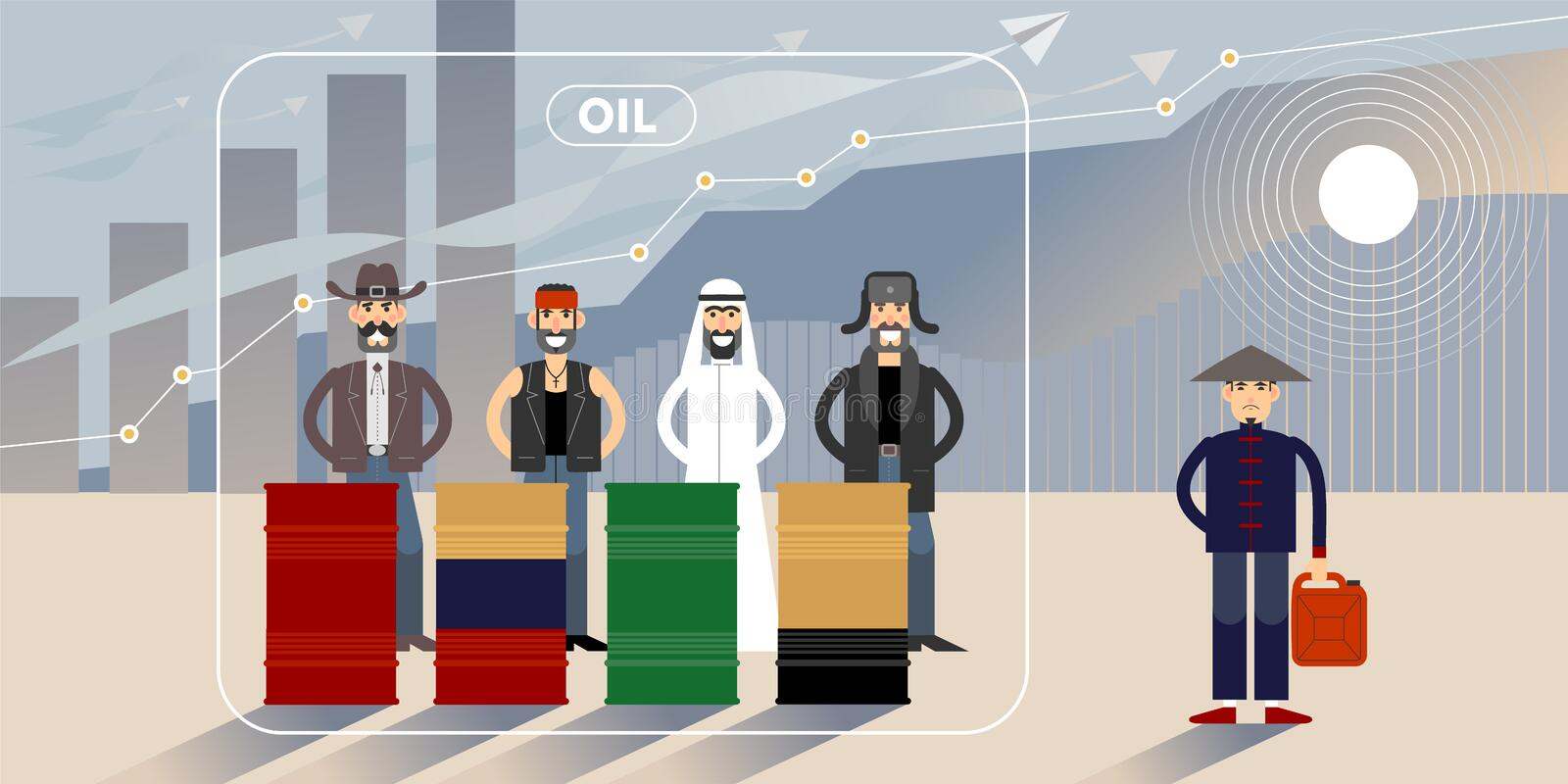 Oil price chart illustration with personages. Oil price growth chart illustration with different national character personages royalty free illustration