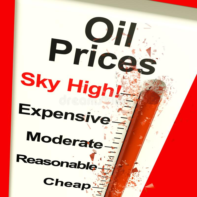 Oil Prices High Monitor Showing Expensive Fuel 3d Rendering stock illustration