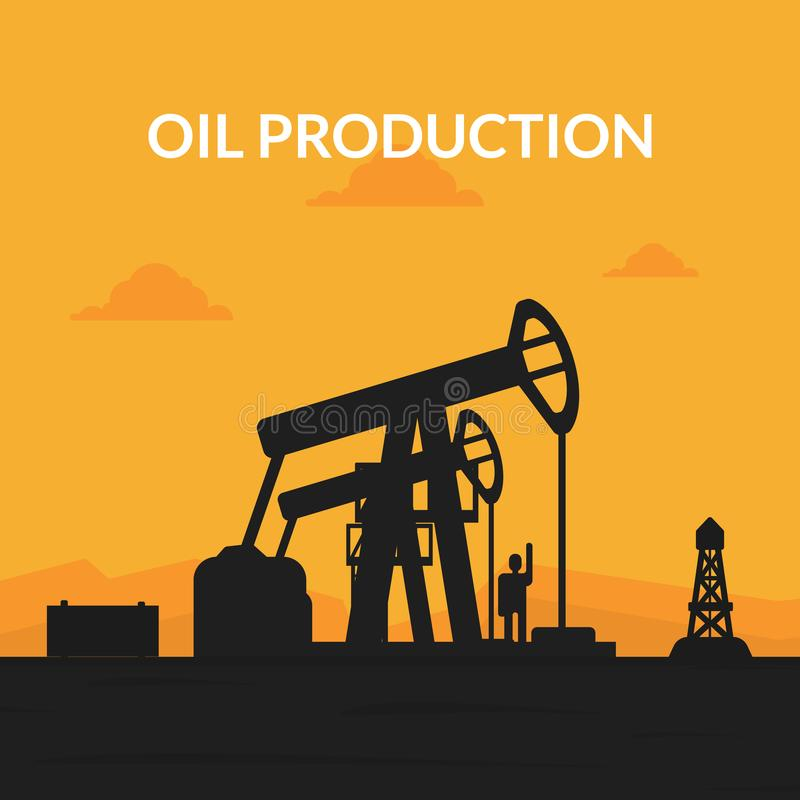 Oil Production Banner Template, Pumpjack Oil Rig Crane Platform Silhouette at Sunset Vector Illustration vector illustration