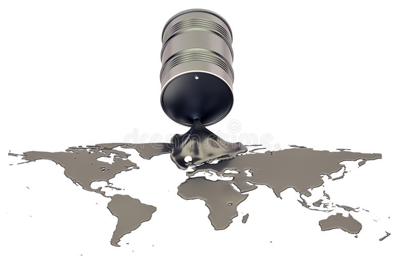 Oil production concept. Crude oil spilled in the shape of Earth vector illustration
