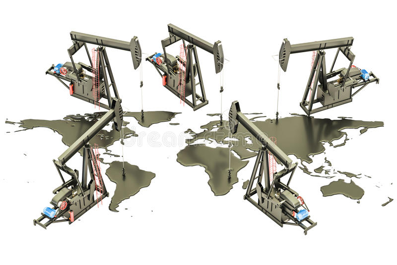 Oil production concept. Crude oil spilled in the shape of Earth. Map with pumpjacks, 3D rendering isolated on the white background royalty free illustration
