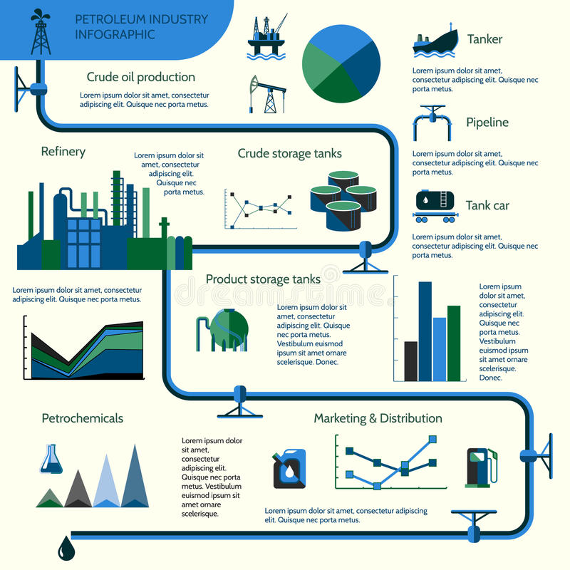 Oil production infographics. World oil production distribution and petroleum extraction rate infographics diagram layout report presentation design vector vector illustration