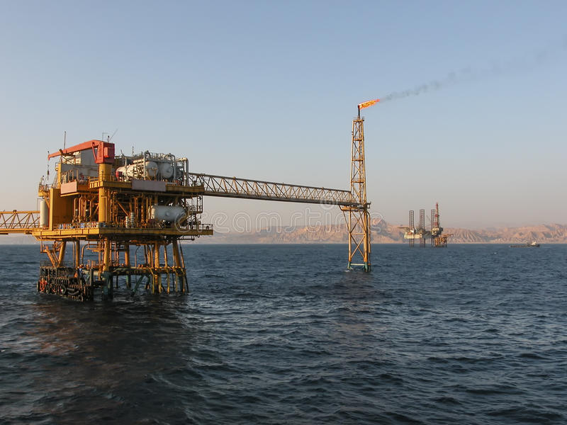 Oil Production Platform Offshore Sinai Coast royalty free stock photo