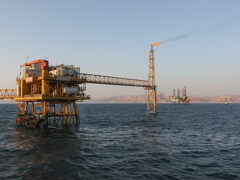 Oil Production Platform Offshore Sinai Coast. Oil Production Platform showing gas flaring Offshore Sinai Coast in Egypt royalty free stock photo