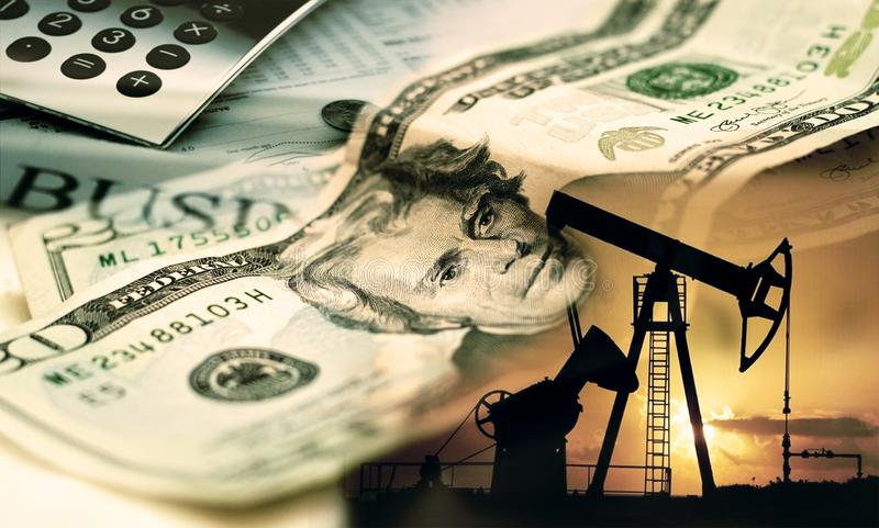 Oil pump on background of US dollar, 20 US dollars. stock images