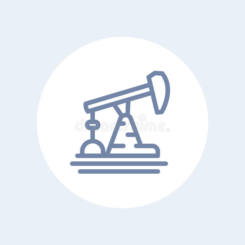 Oil pump, derrick line icon isolated on white. Eps 10 file, easy to edit stock illustration