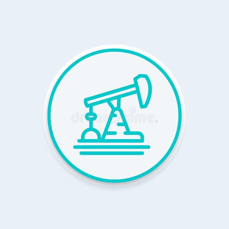 Oil pump, derrick line icon, vector illustration. Eps 10 file, easy to edit vector illustration