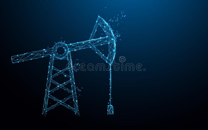 Oil pump form lines, triangles and particle style design royalty free illustration