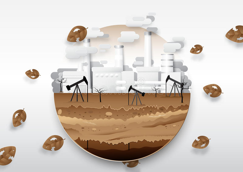 Oil pump and fuel with oil refinery. Global warming concept royalty free illustration