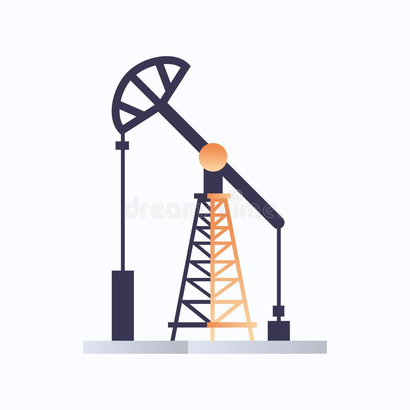 Oil pump icon oil industry equipment fossil fuels production concept flat white background royalty free illustration
