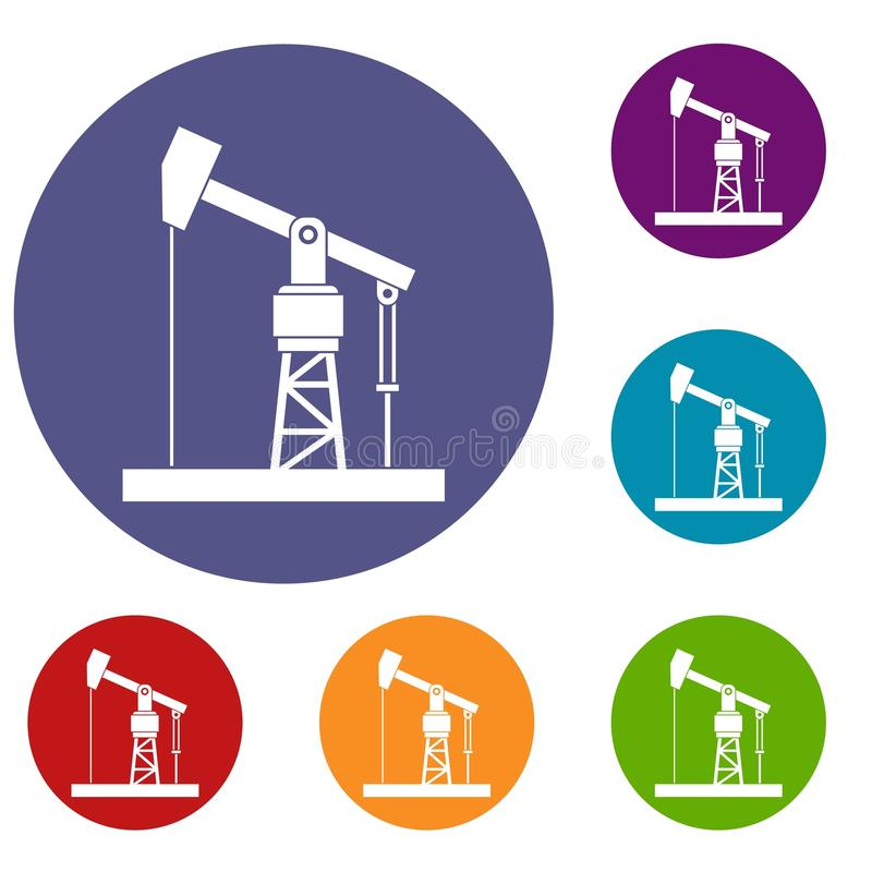 Oil pump icons set. In flat circle reb, blue and green color for web vector illustration