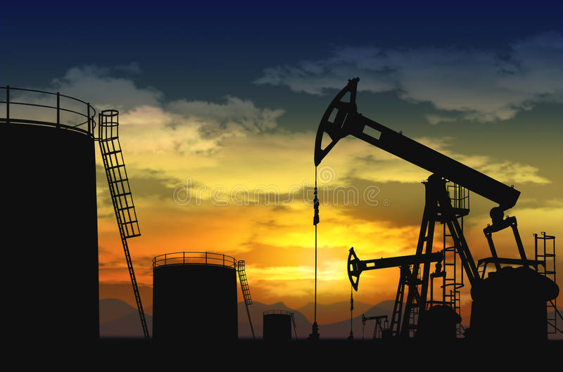 Download Oil pump jack and oil tank stock image. Image of drilling - 28837391