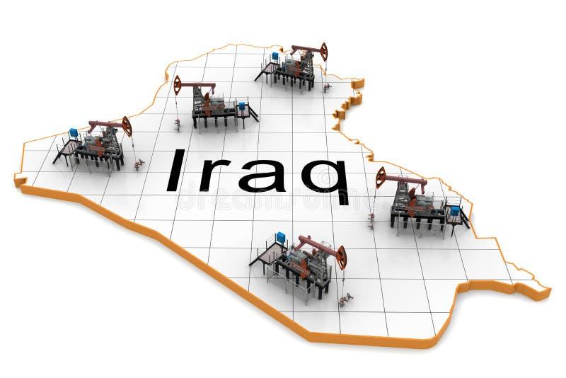 Oil pump-jacks on a map of Iraq