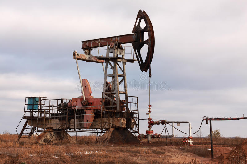 Oil pump and pipe stock photography