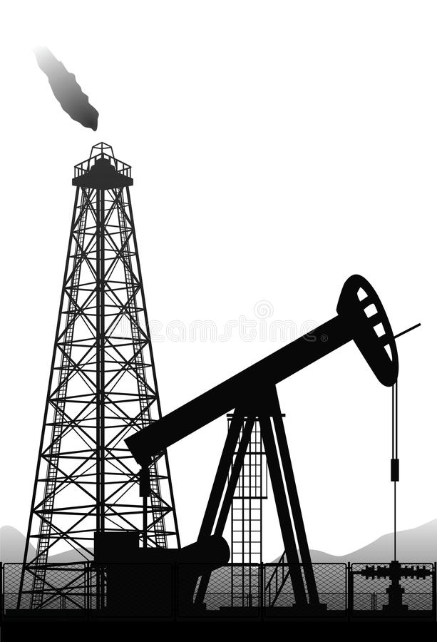 Oil pump and rig silhouette on white. royalty free illustration