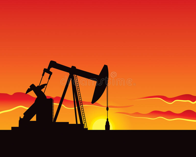 Oil Pump. An oil pump works through to sunset vector illustration