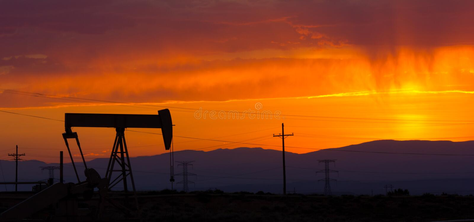 Oil Pumpjack Sunset 4 royalty free stock image