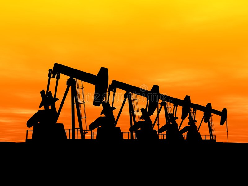 Oil pumps stock photography