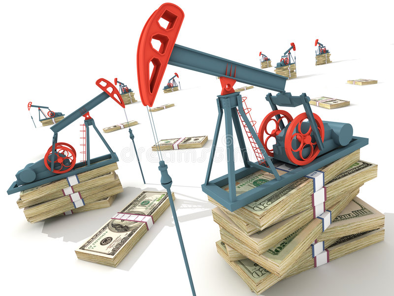 Oil pumps. On dollar banknotes. Conceptual 3D illustration