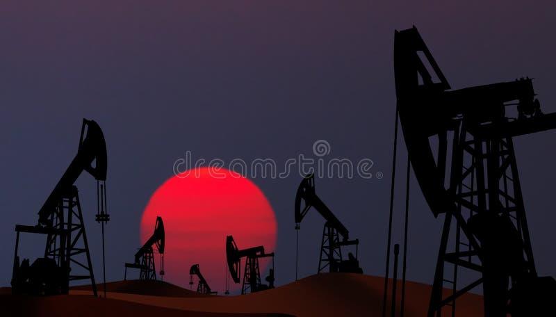 Oil pumps in desert stock images