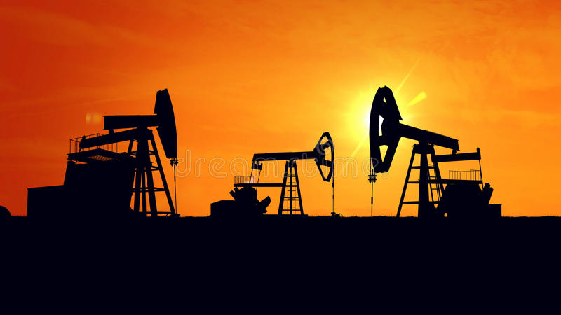 Oil pumps. Oil industry equipment. royalty free illustration